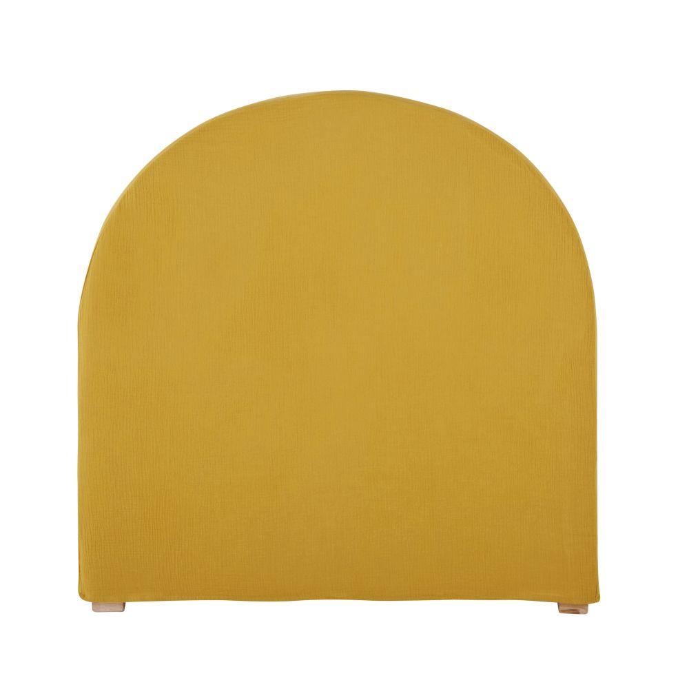 Housse de tête de lit 90 en gaze de coton bio jaune moutarde