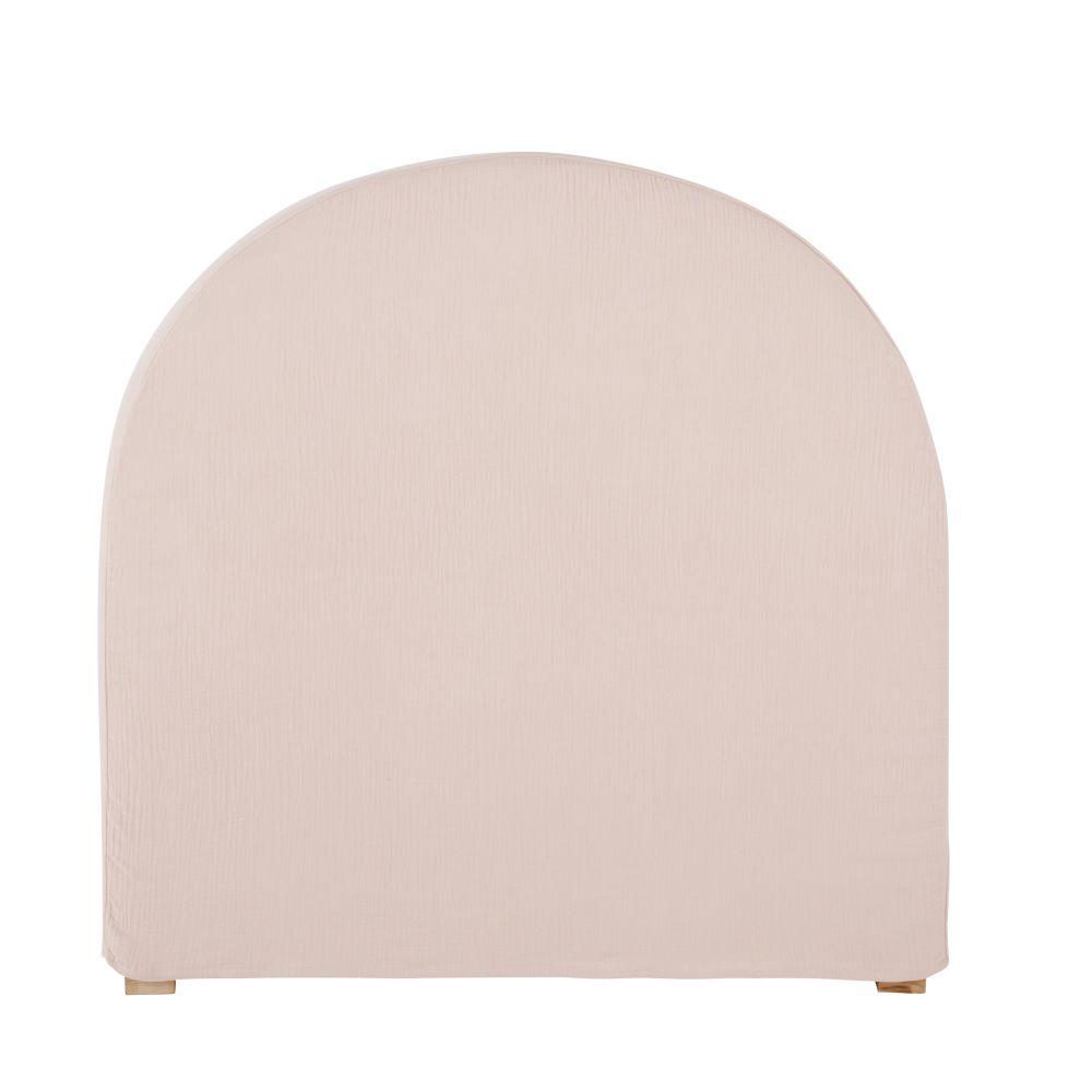 Housse de tête de lit 90 en gaze de coton bio rose