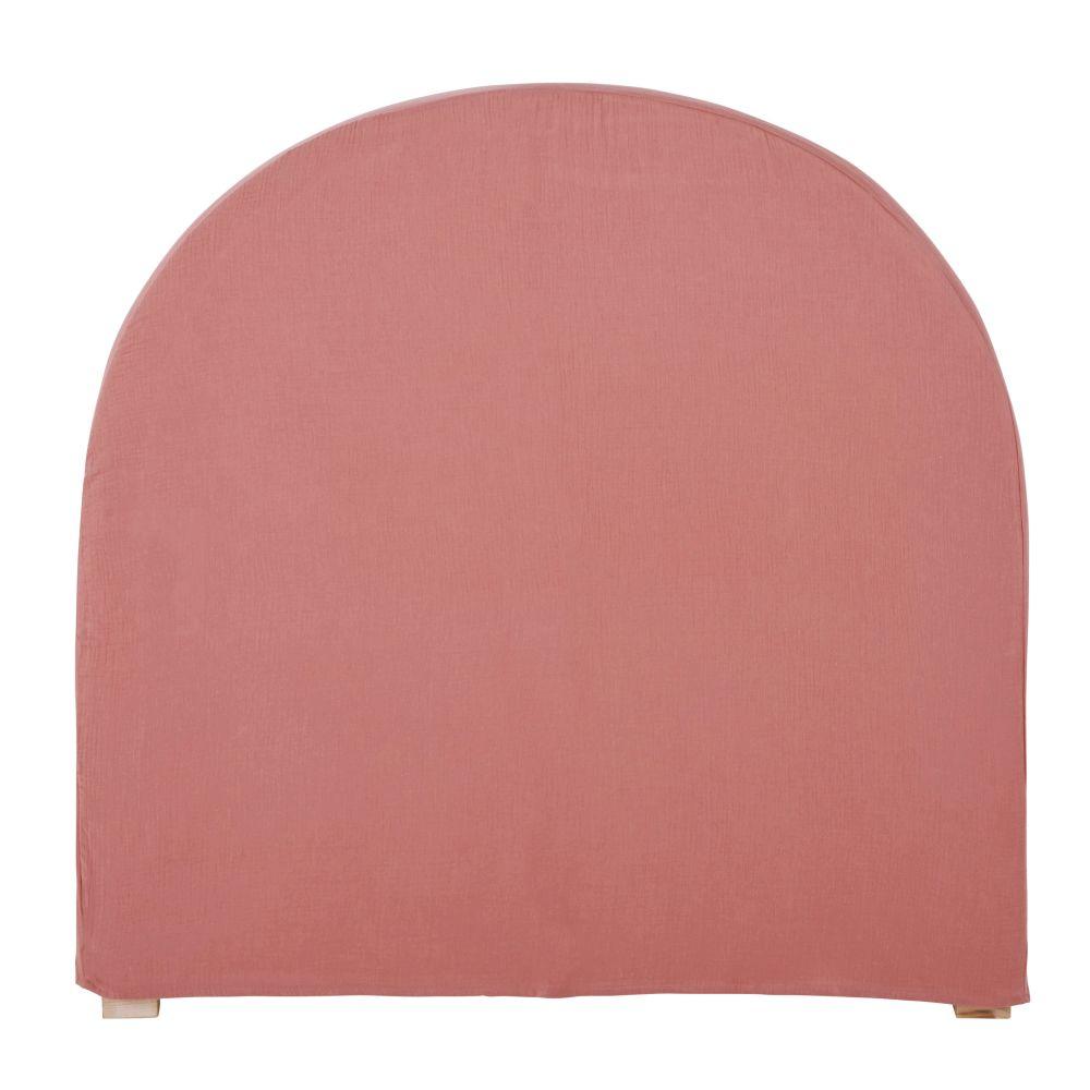 Housse de tête de lit 90 en gaze de coton bio rose framboise