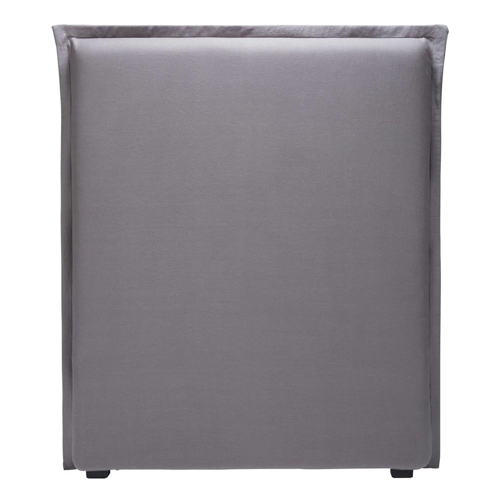 Housse de tête de lit 90 en lin gris