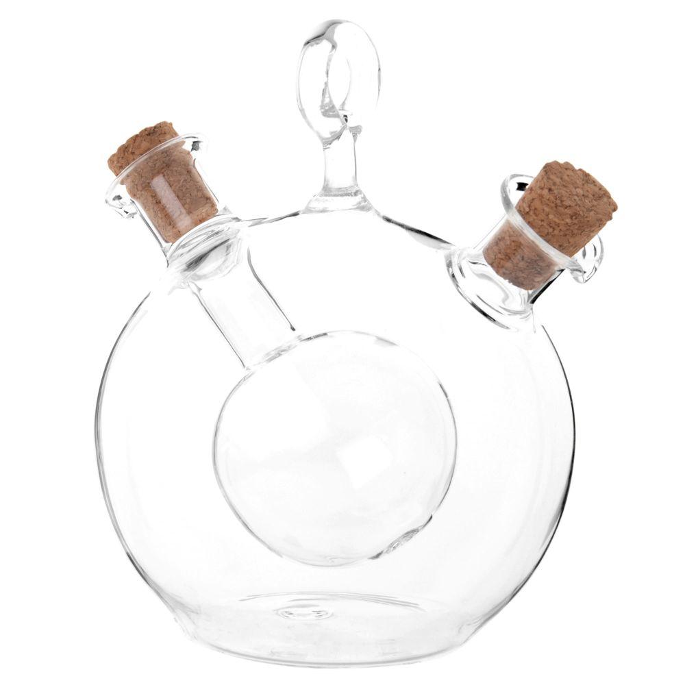 Huilier et vinaigrier 2 en 1 en verre et liège