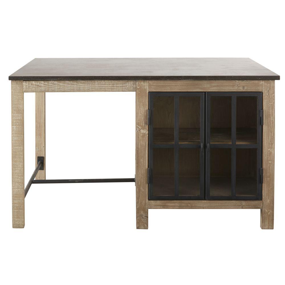 Îlot central cuisine 2 portes vitrées en pin recyclé grisé