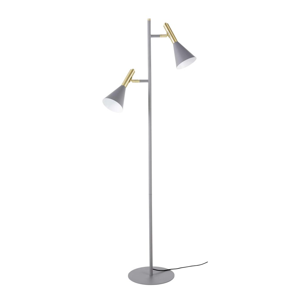 Industriële Staande Lamp Uit Donkergrijs Metaal Met 2 Lampenkappen H150