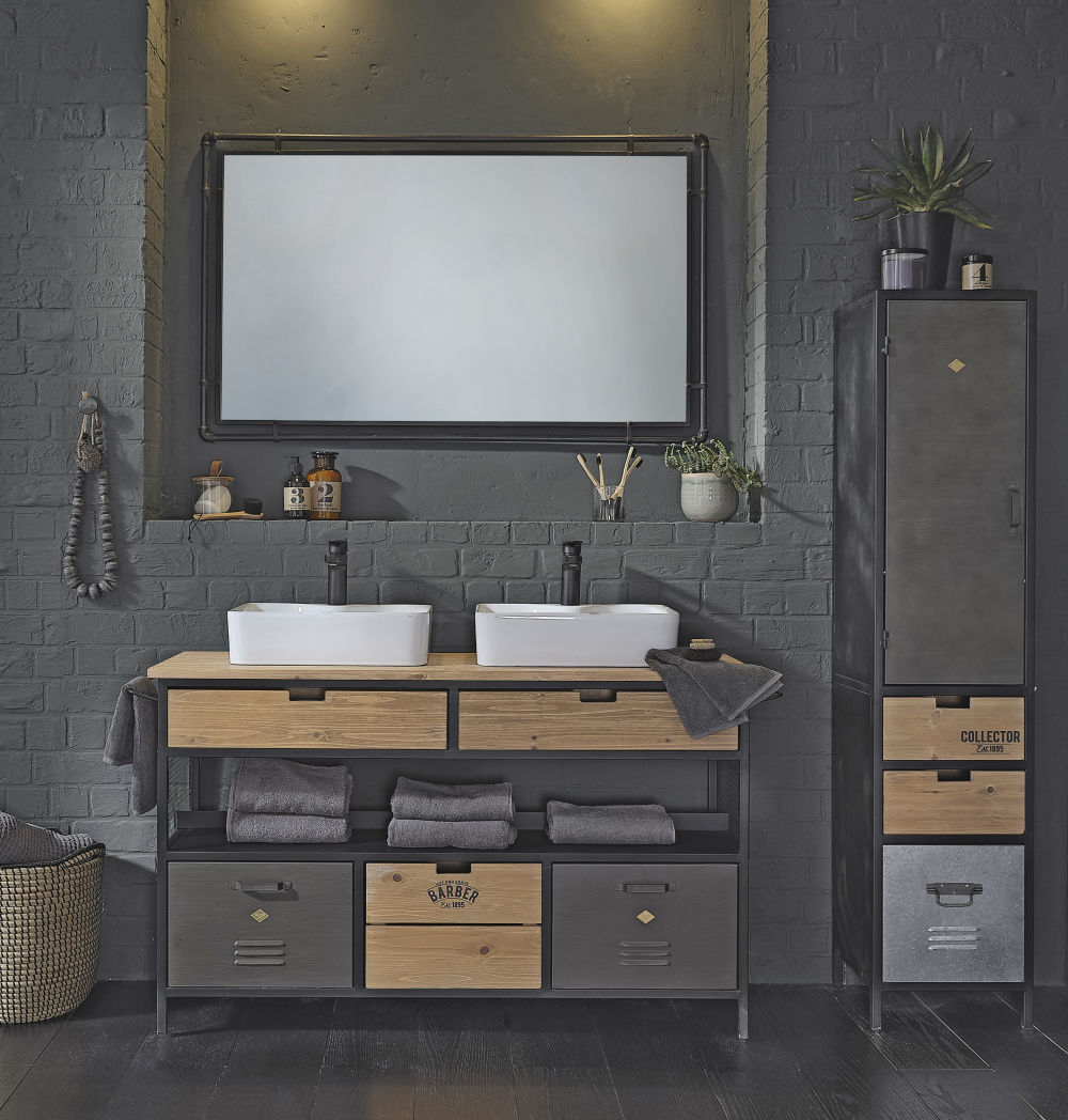 Industriële Zwarte Metalen Spiegel 80 X 130 Cm