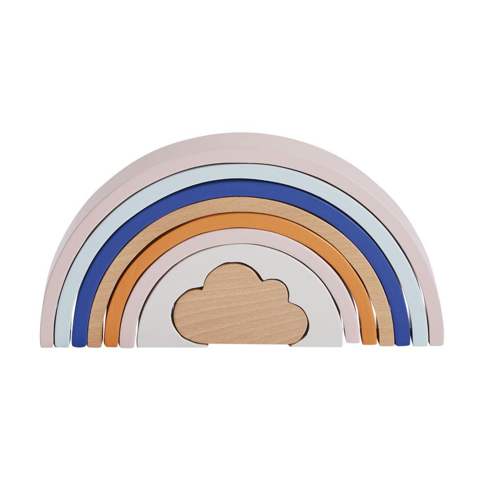 Jeu d'encastrement arc-en-ciel en hêtre blanc, bleu et orange