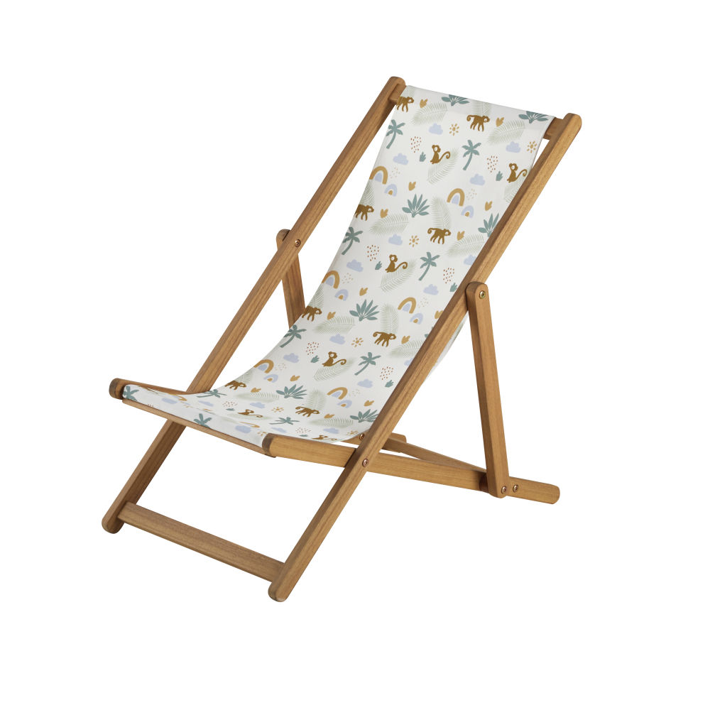Kinder-Liegestuhl aus massiver Akazie, Segeltuch mit Affen- und Palmenmotiv
