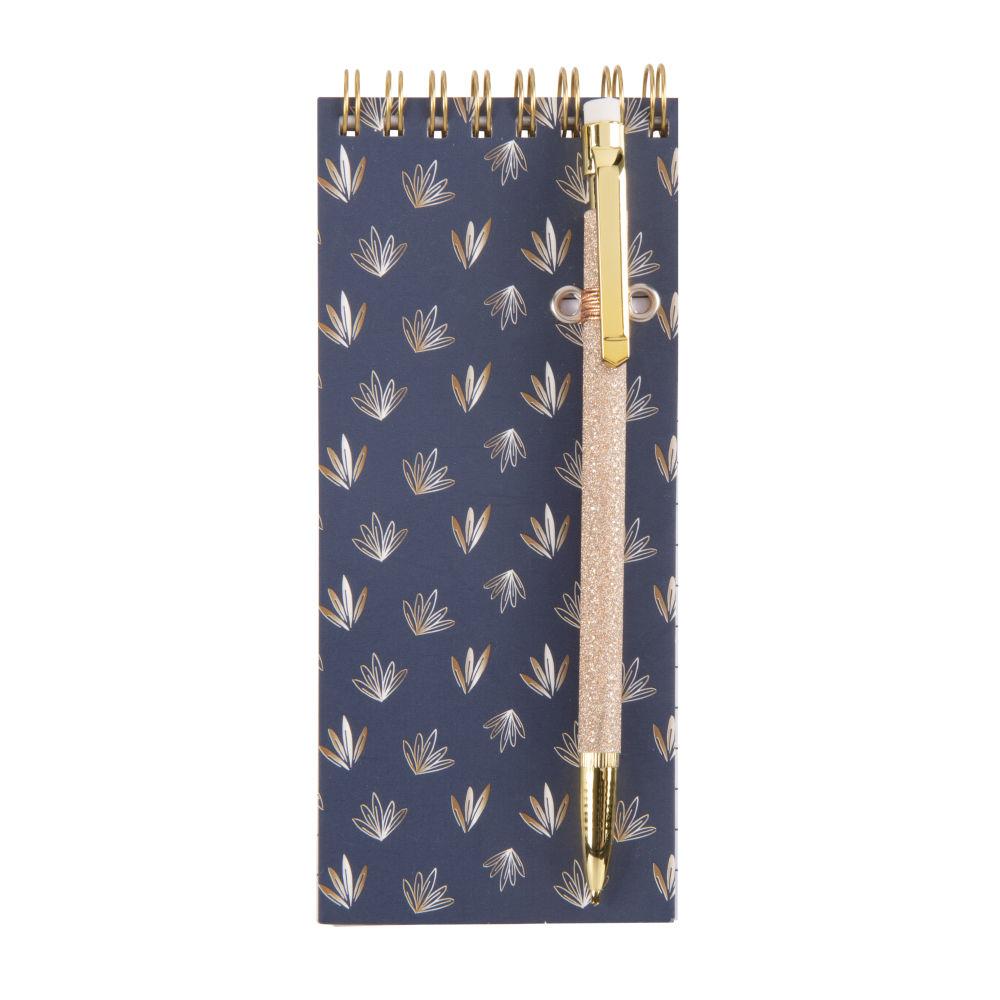 Kit bloc-notes bleu motifs feuilles et critérium doré