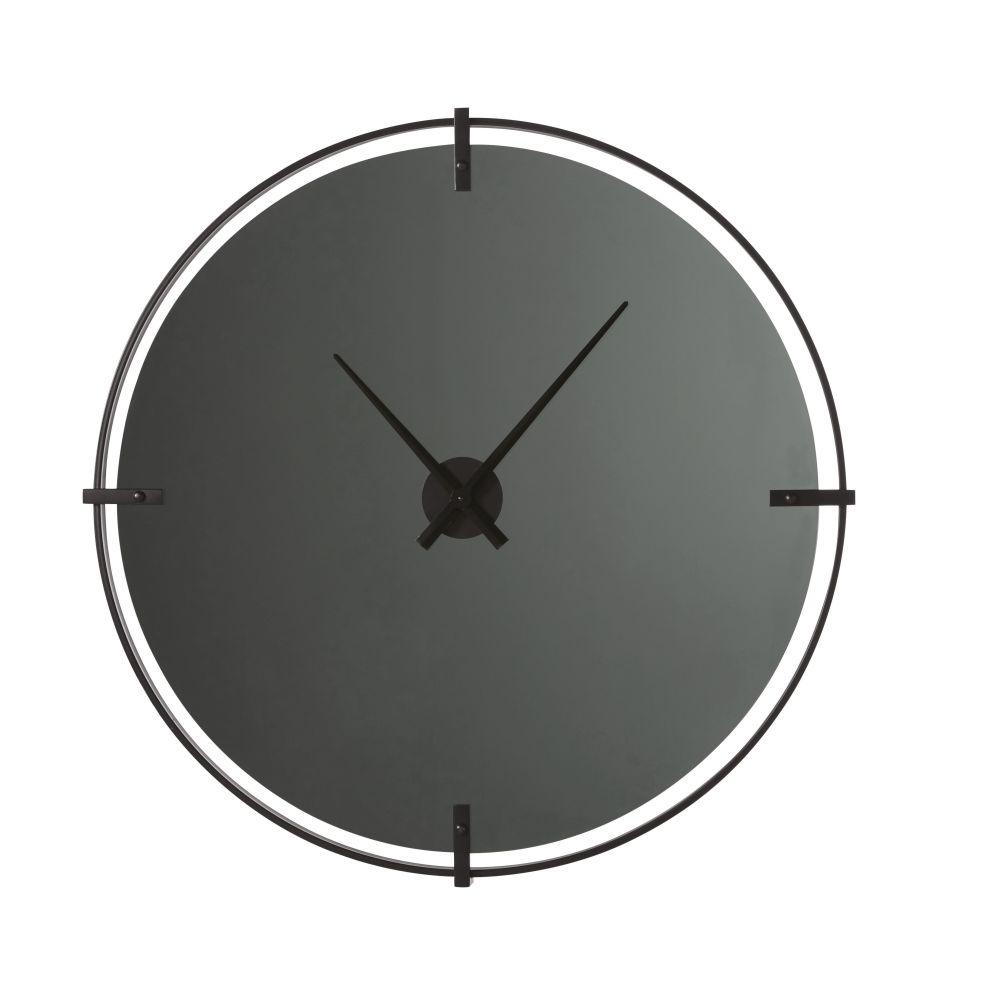 Klok Uit Rookglas En Zwart Metaal D95
