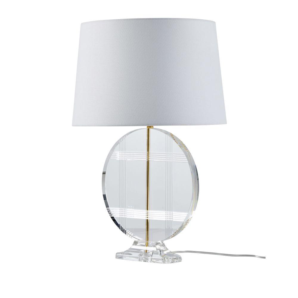Kristallen Lamp Met Verguld Metaal En Witte Lampenkap