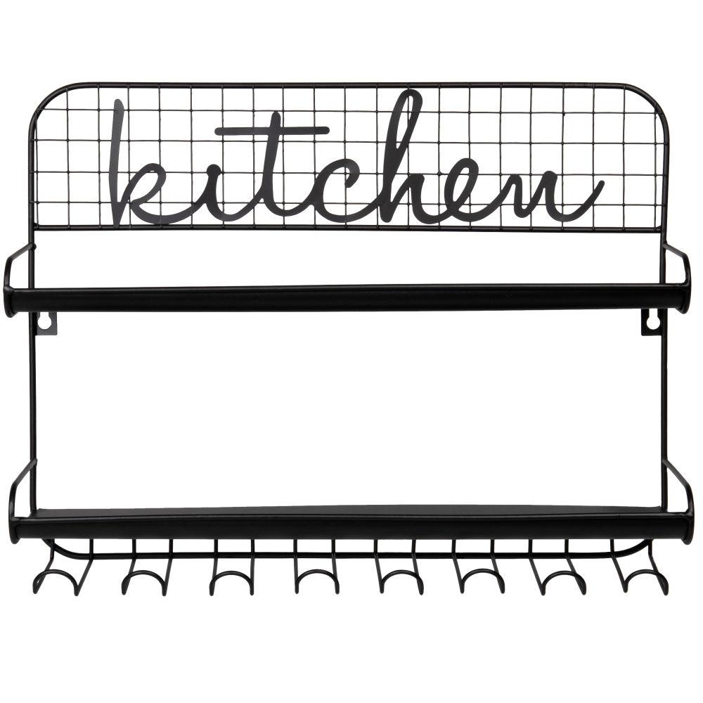 Küchenregal aus schwarzem Metall