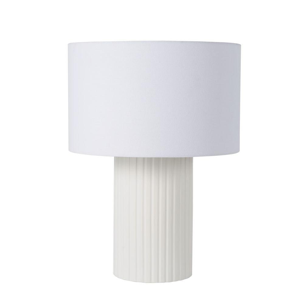Lamp In De Vorm Van Griekse Zuil Uit Witte Keramiek