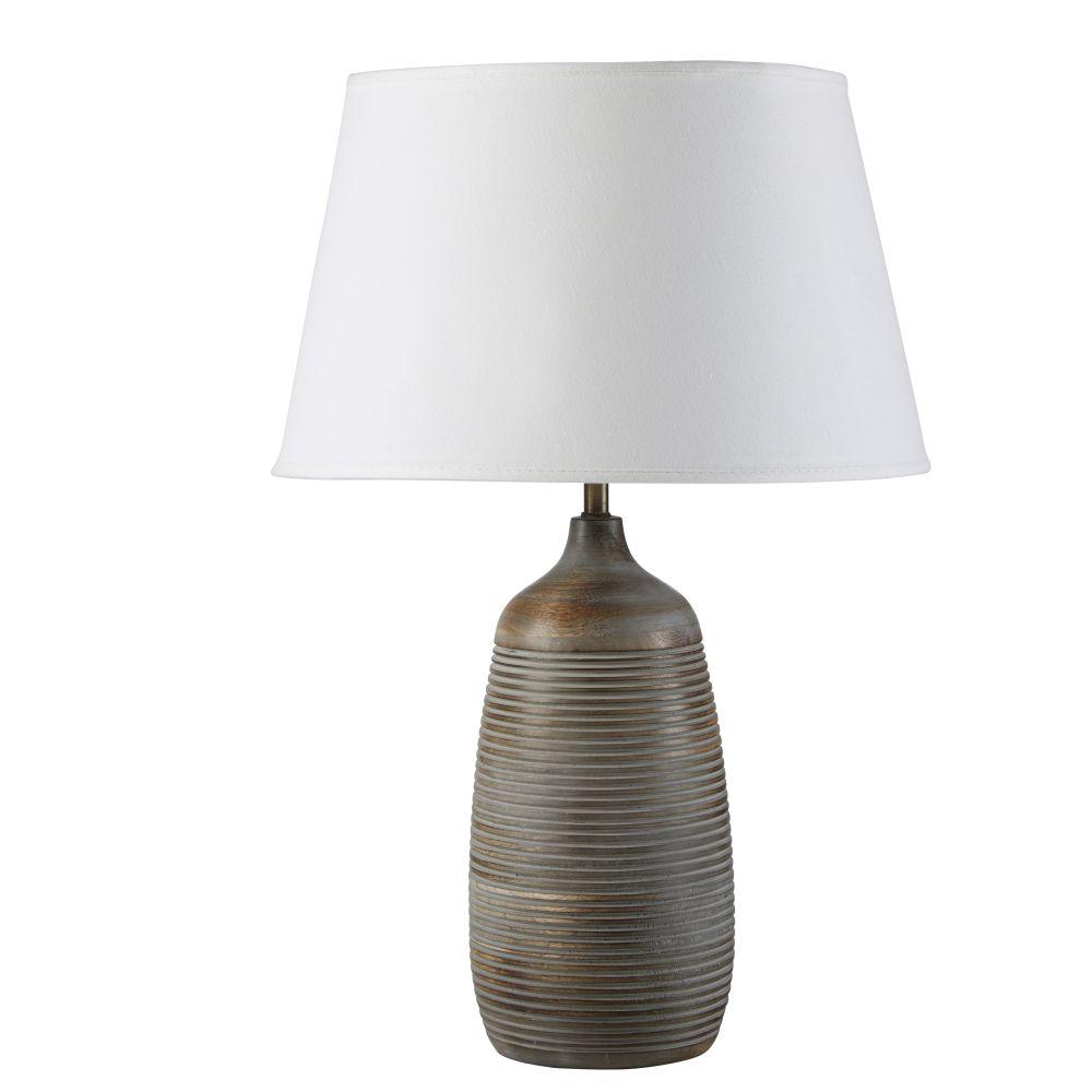 Lamp Uit Mangohouten Snijwerk Met Linnen Lampenkap