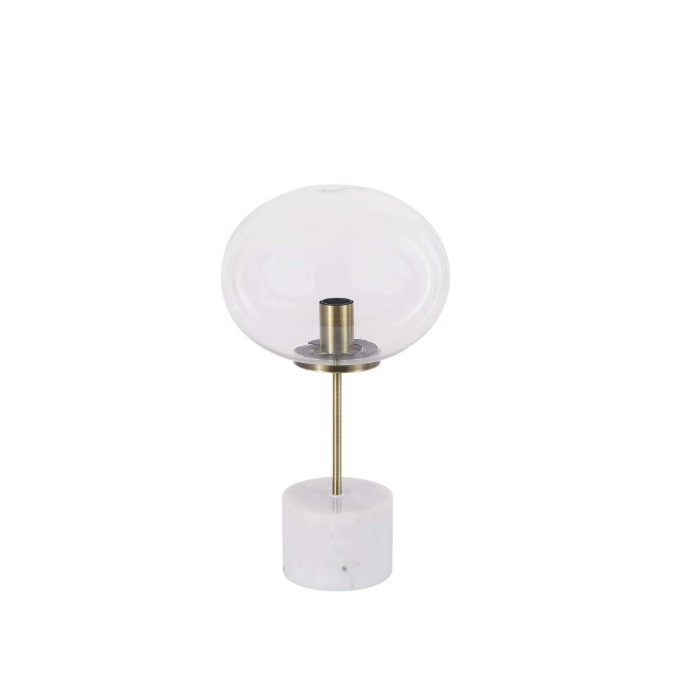 Lamp Uit Wit Marmer, Matgoud Metaal En Glas