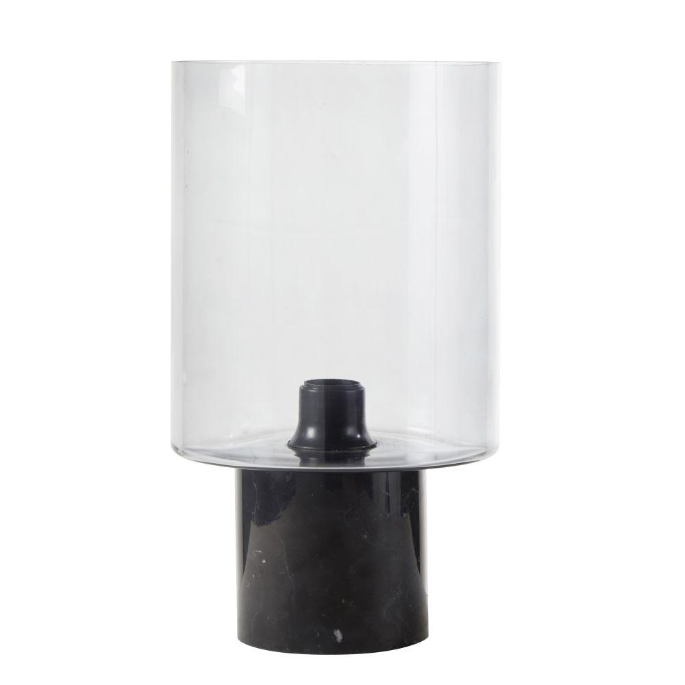 Lamp Uit Zwart Marmer Met Lampenkap Van Rookglas