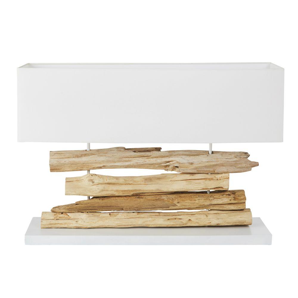 Lamp Van Acaciahouten Takken Met Witte Lampenkap