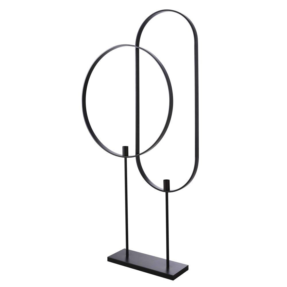 Lampadaire 2 cerclages en metal noir mat H169