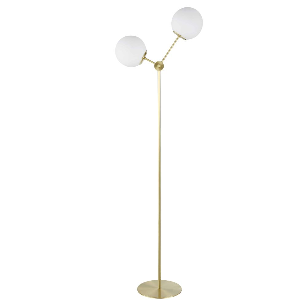 Lampadaire 2 globes en verre opalin et métal doré H145