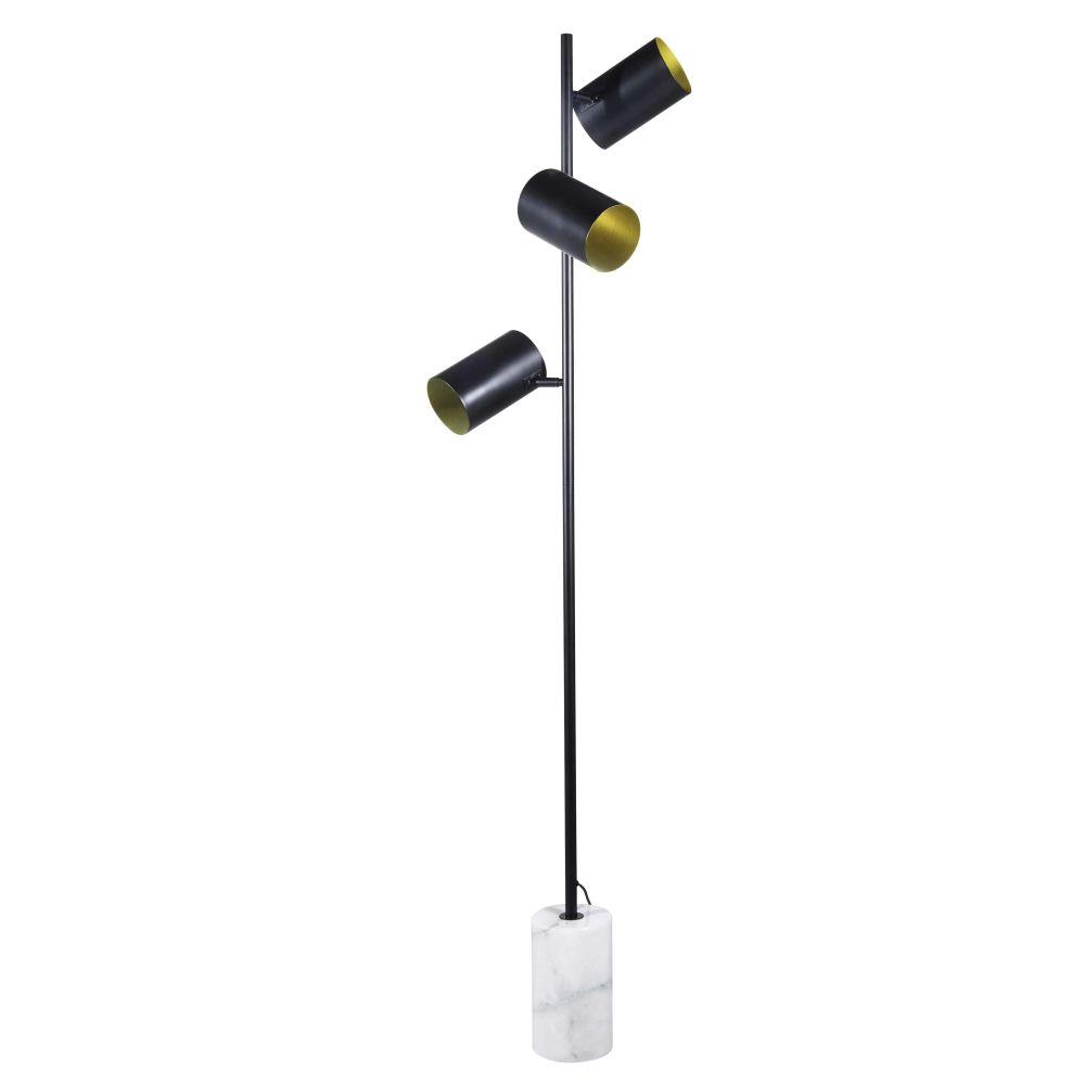 Lampadaire 3 abat-jours en métal noir et marbre blanc H156