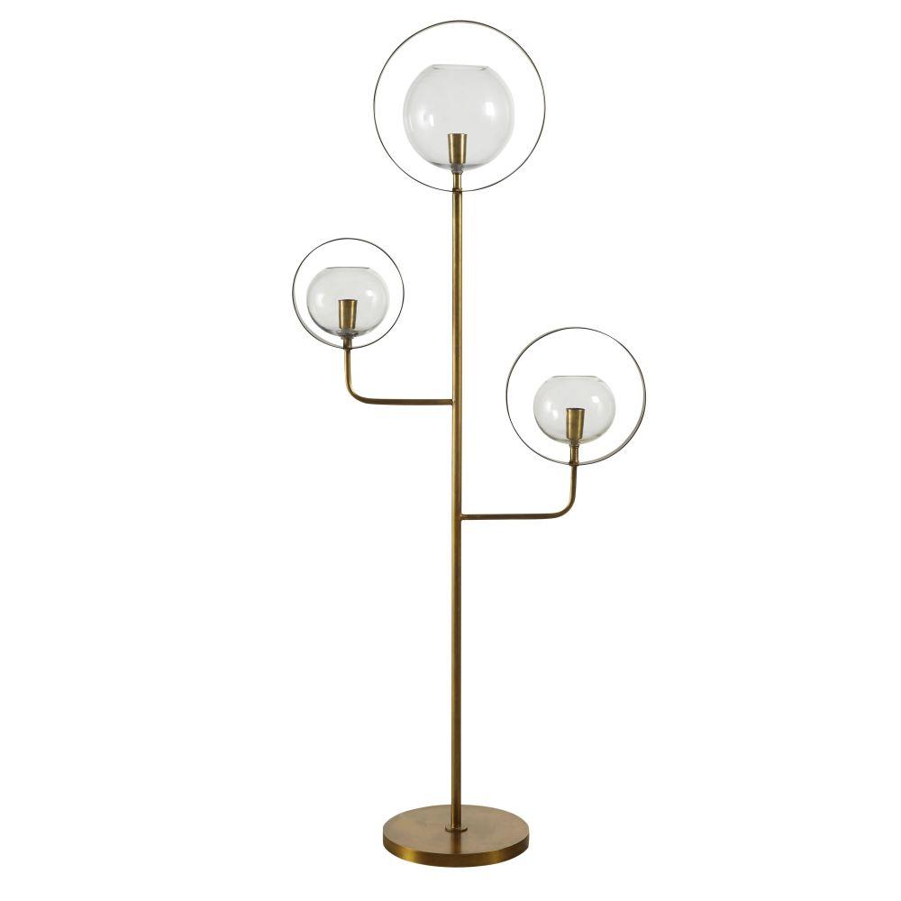 Lampadaire 3 globes en verre et métal doré H149