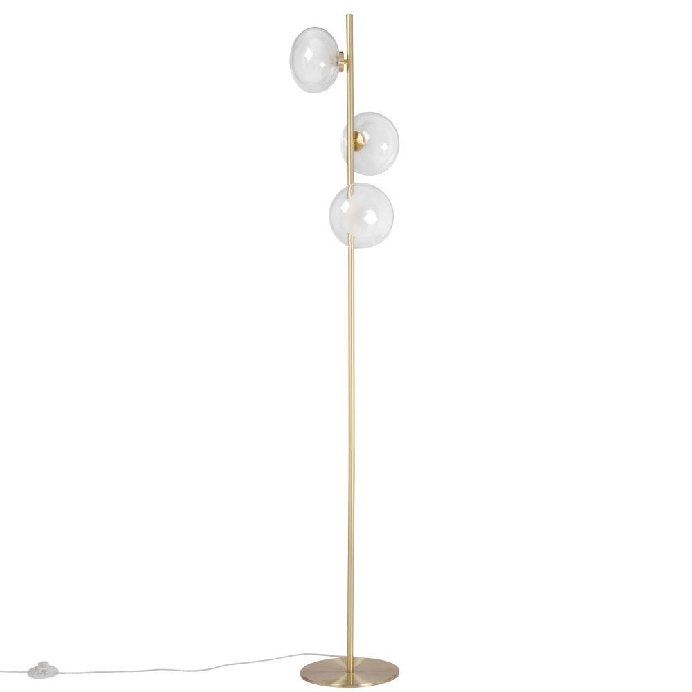 Lampadaire 3 globes en verre et métal doré H153