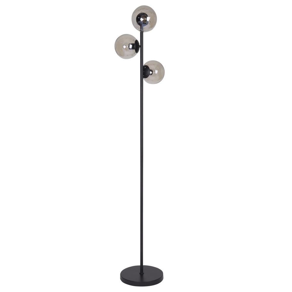 Lampadaire 3 globes en verre et métal noir H168