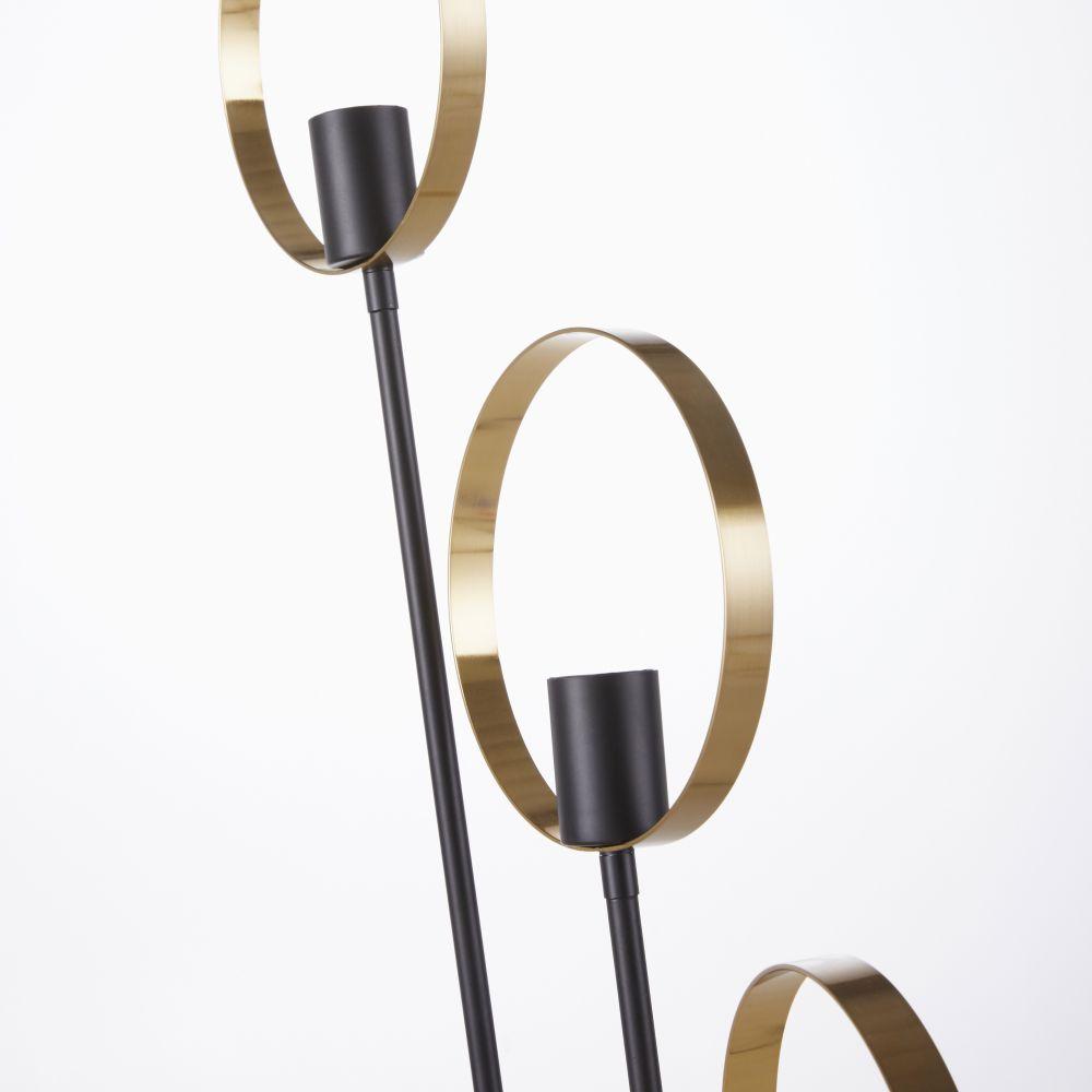 Lampadaire 3 spots en métal doré et noir H143