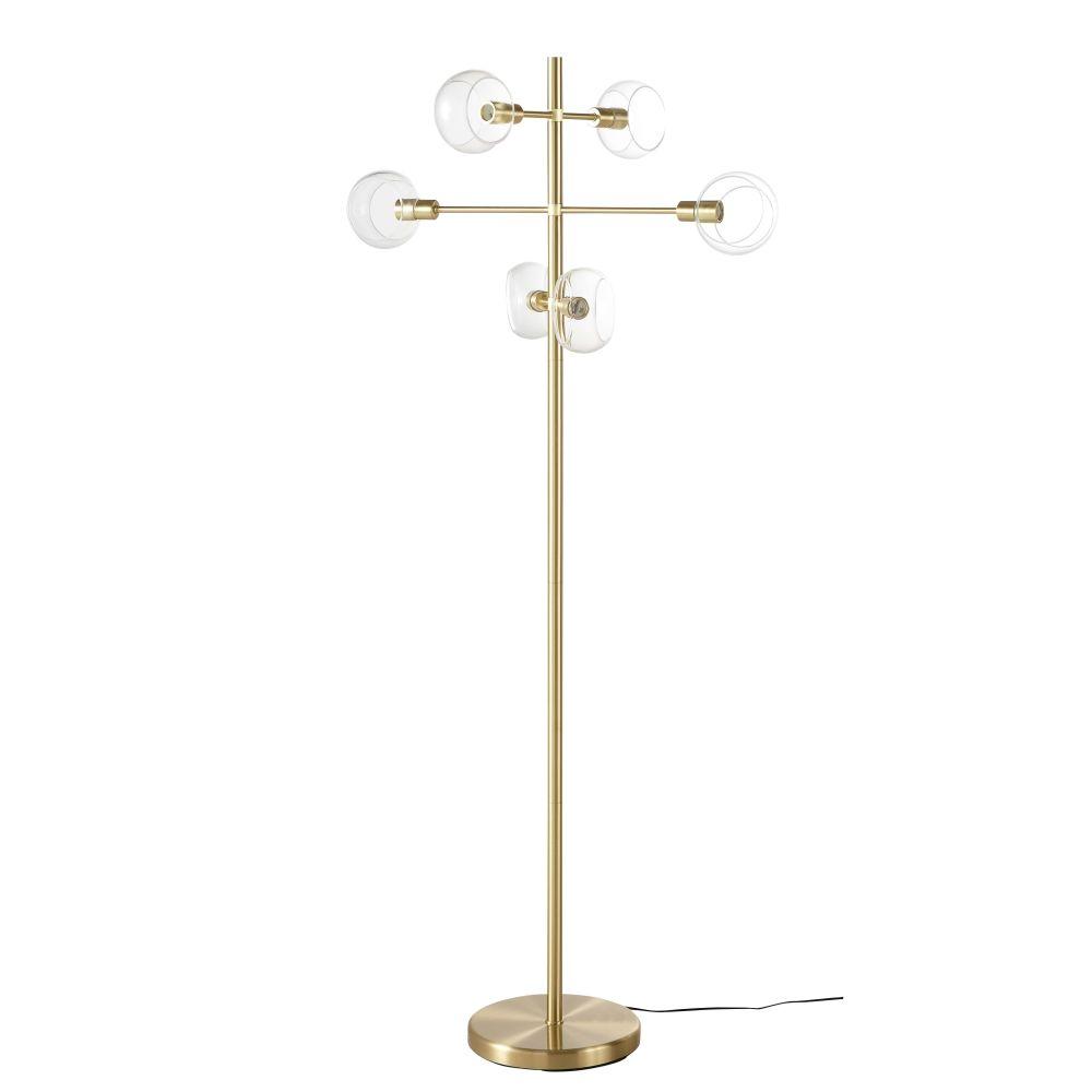 Lampadaire 6 globes en verre et métal doré H160
