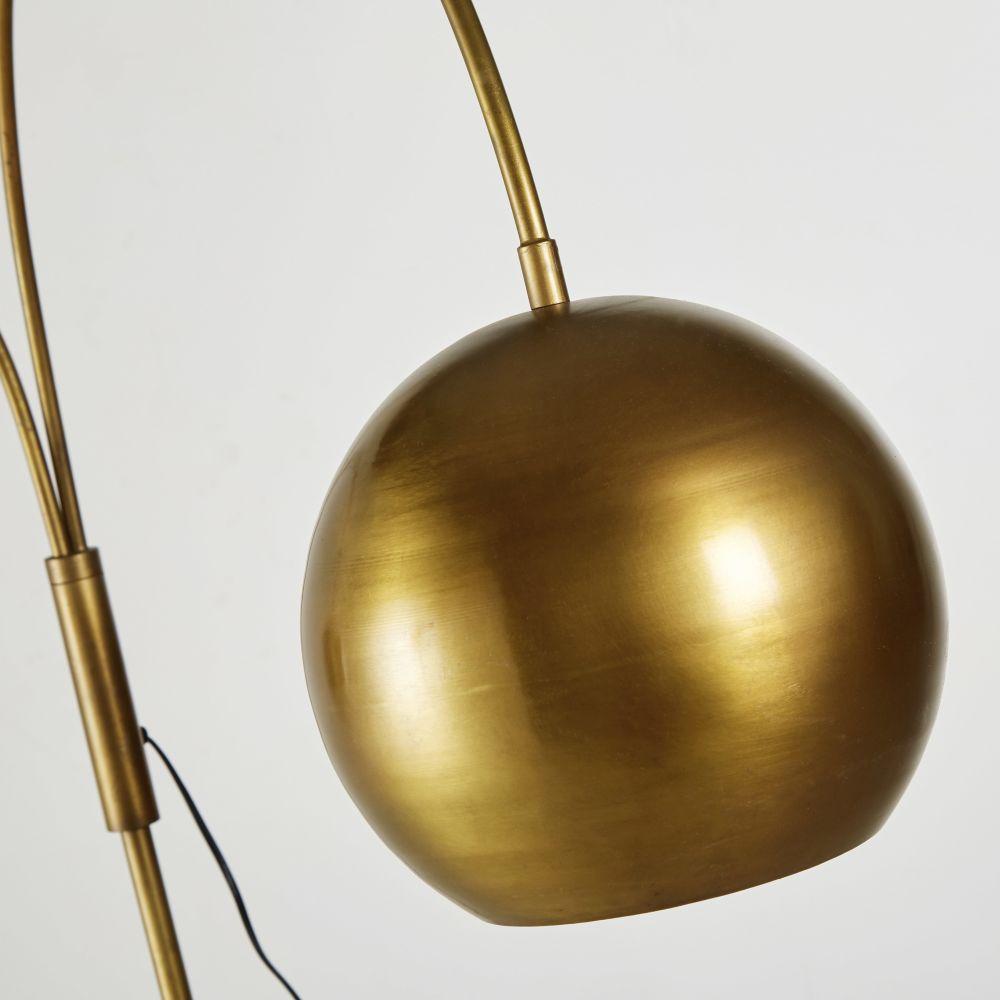 Lampadaire double en métal doré effet vieilli H199