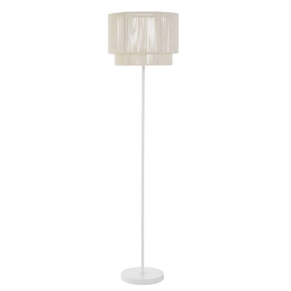 Lampadaire en chanvre et métal coloris blanc H150