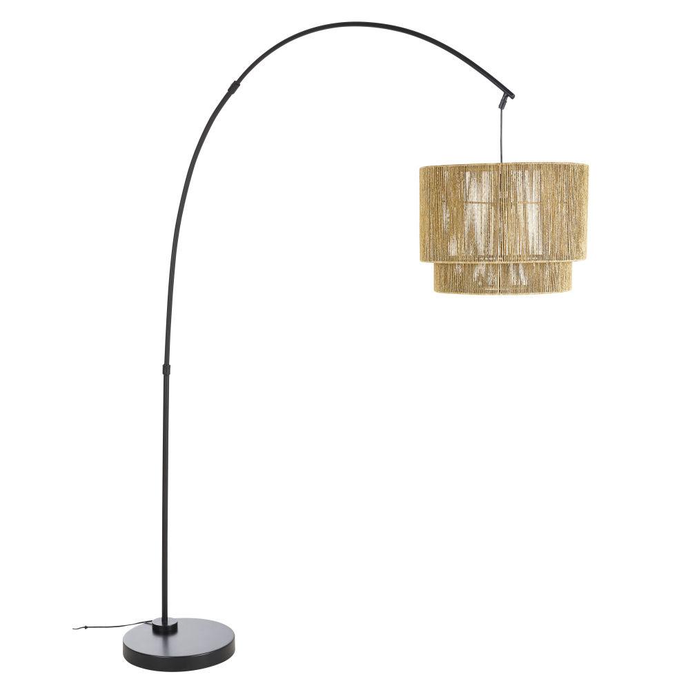 Lampadaire en chanvre et métal noir mat H187