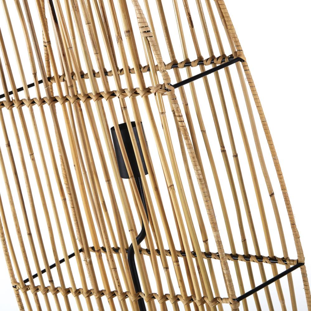 Lampadaire en fibre végétale et métal noir H171