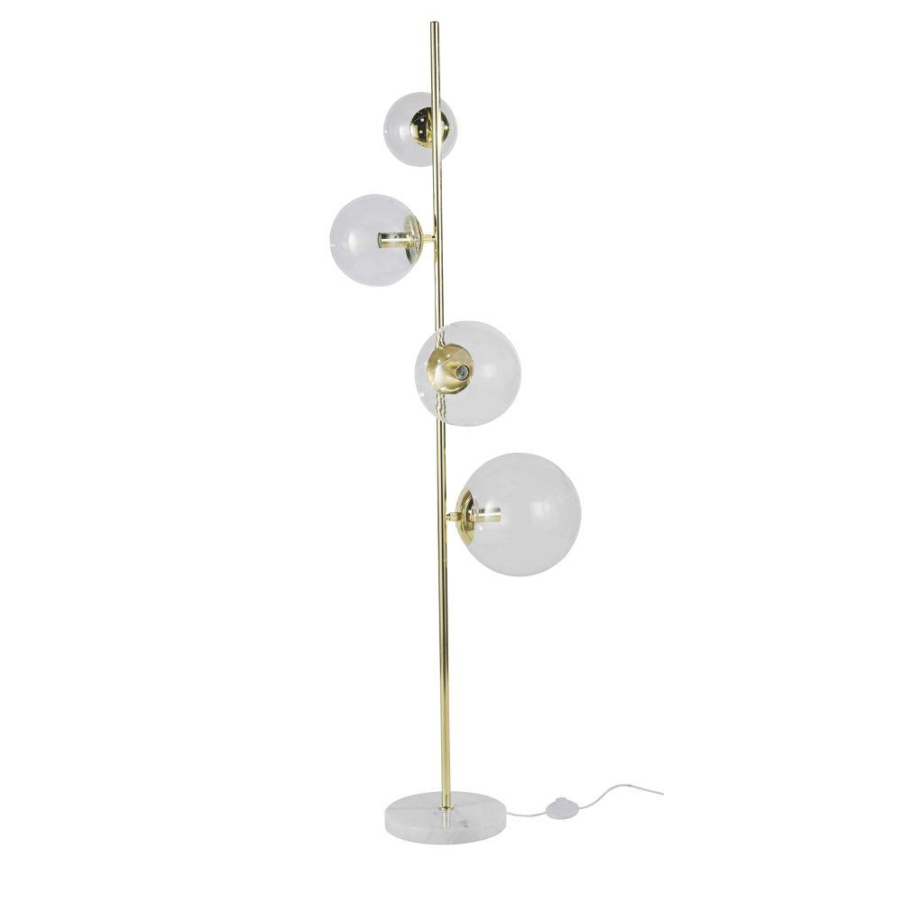 Lampadaire en marbre blanc et globes en verre H160