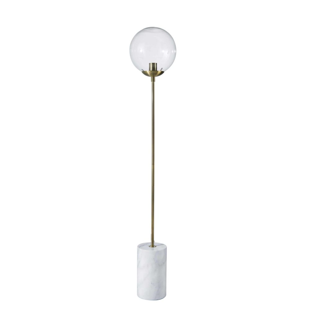 Lampadaire en marbre blanc, métal doré et verre H145