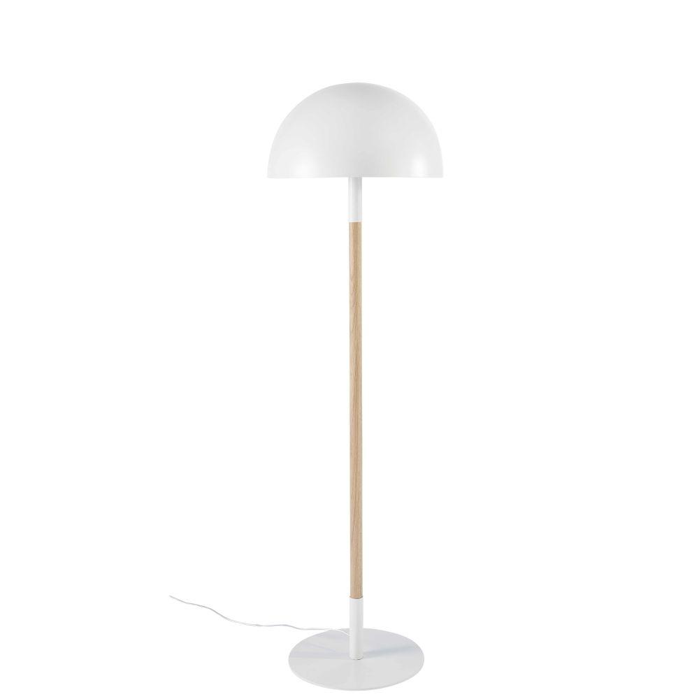Lampadaire en métal blanc et chêne H133
