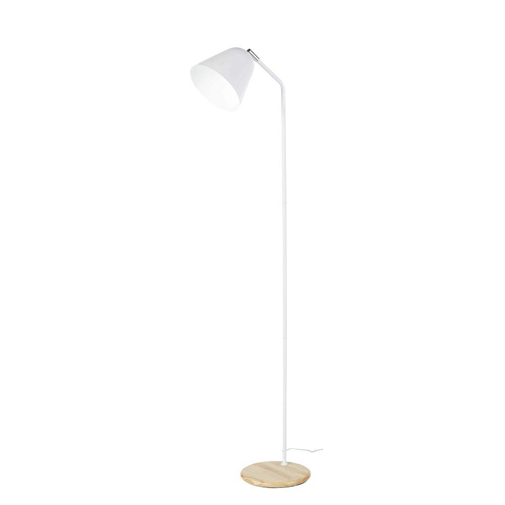 Lampadaire en métal blanc et hévéa H140