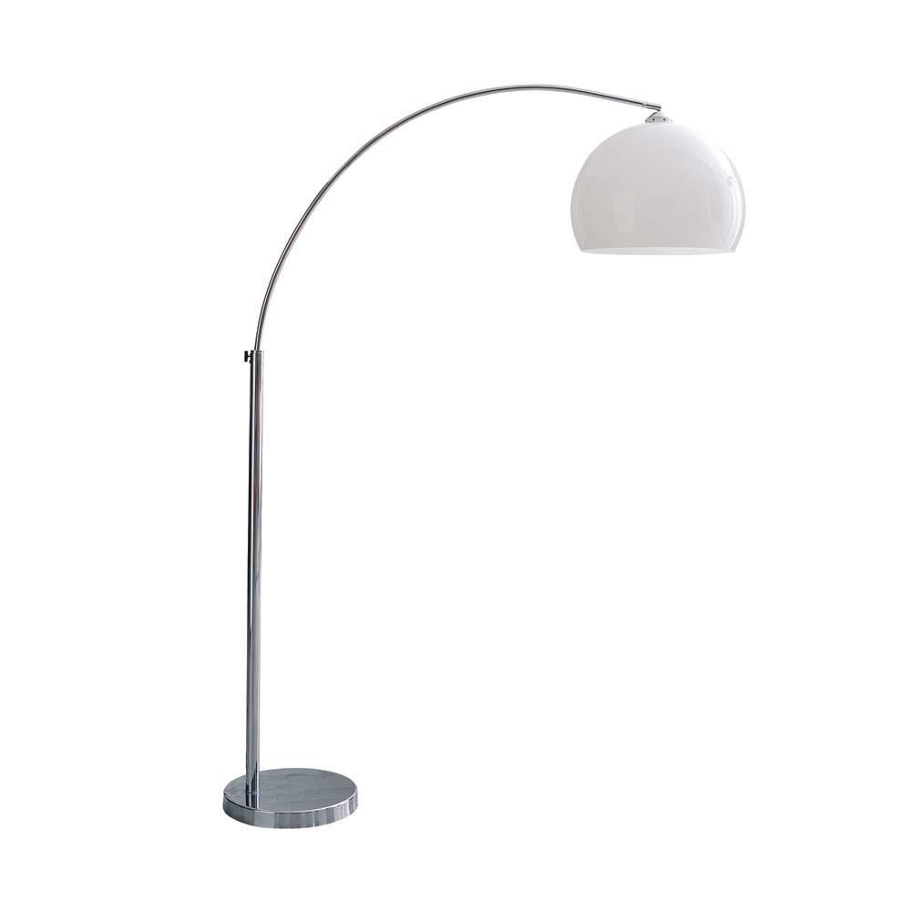 Lampadaire en métal chromé et plastique blanc H 209 cm