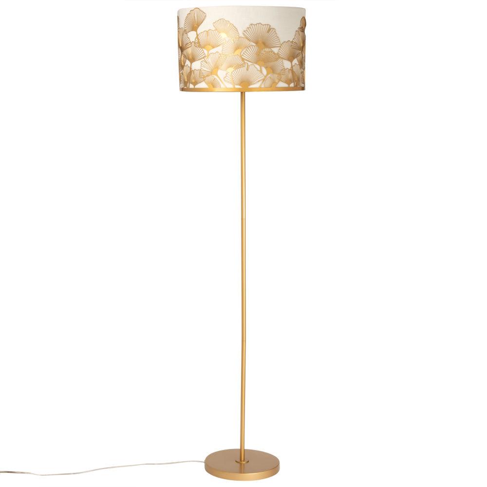 Lampadaire en métal doré abat-jour blanc ginkgo doré H153