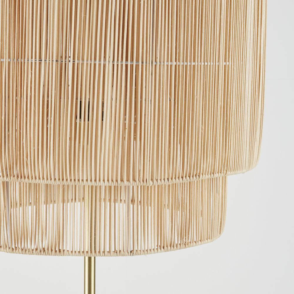 Lampadaire en métal doré abat-jour en fibre végétale H152