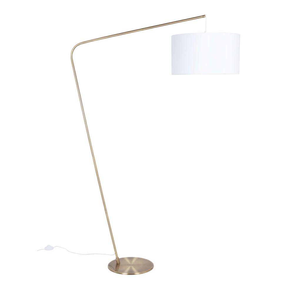 Lampadaire en métal doré et abat-jour écru H177