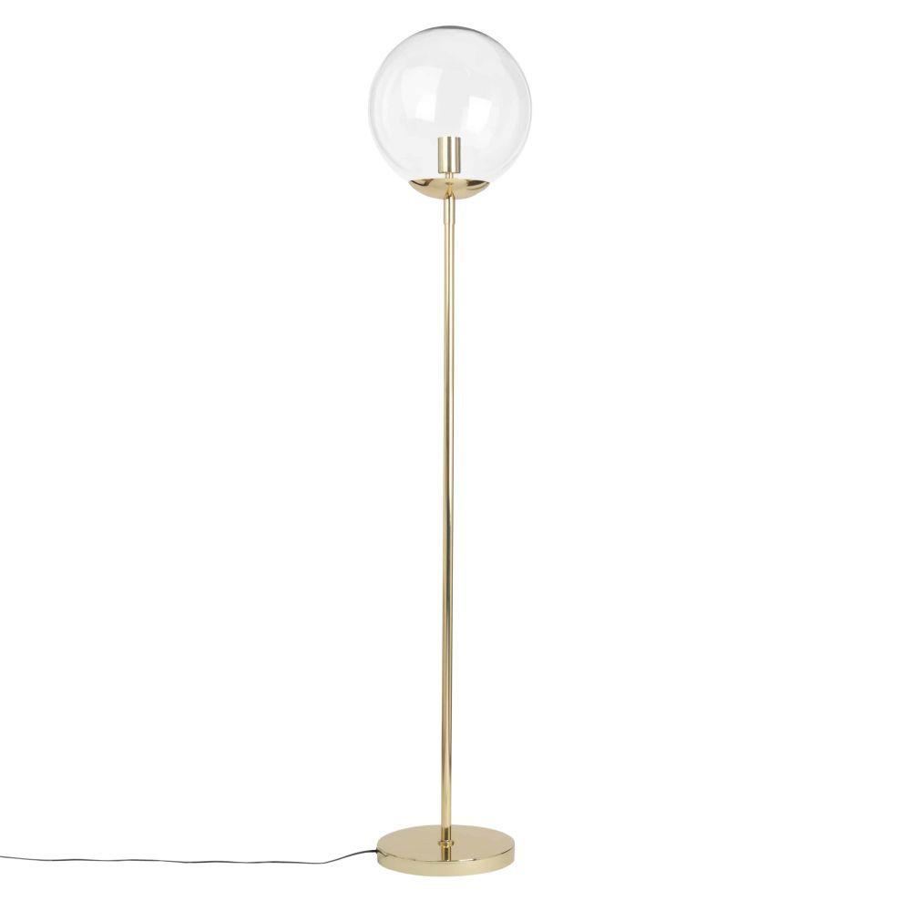 Lampadaire en métal doré et globe en verre H152
