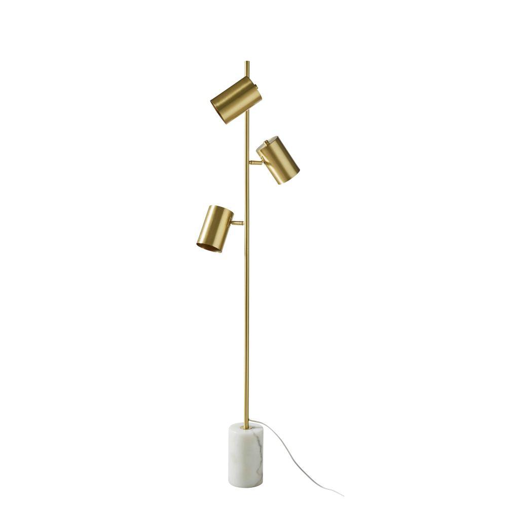 Lampadaire en métal doré et marbre blanc H156
