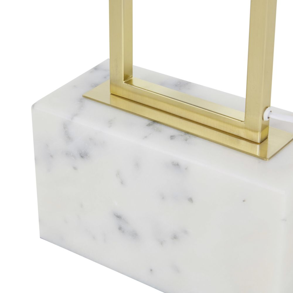 Lampadaire en métal doré et marbre blanc H159