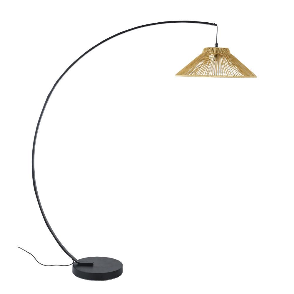 Lampadaire en métal et abat-jour tressé H168