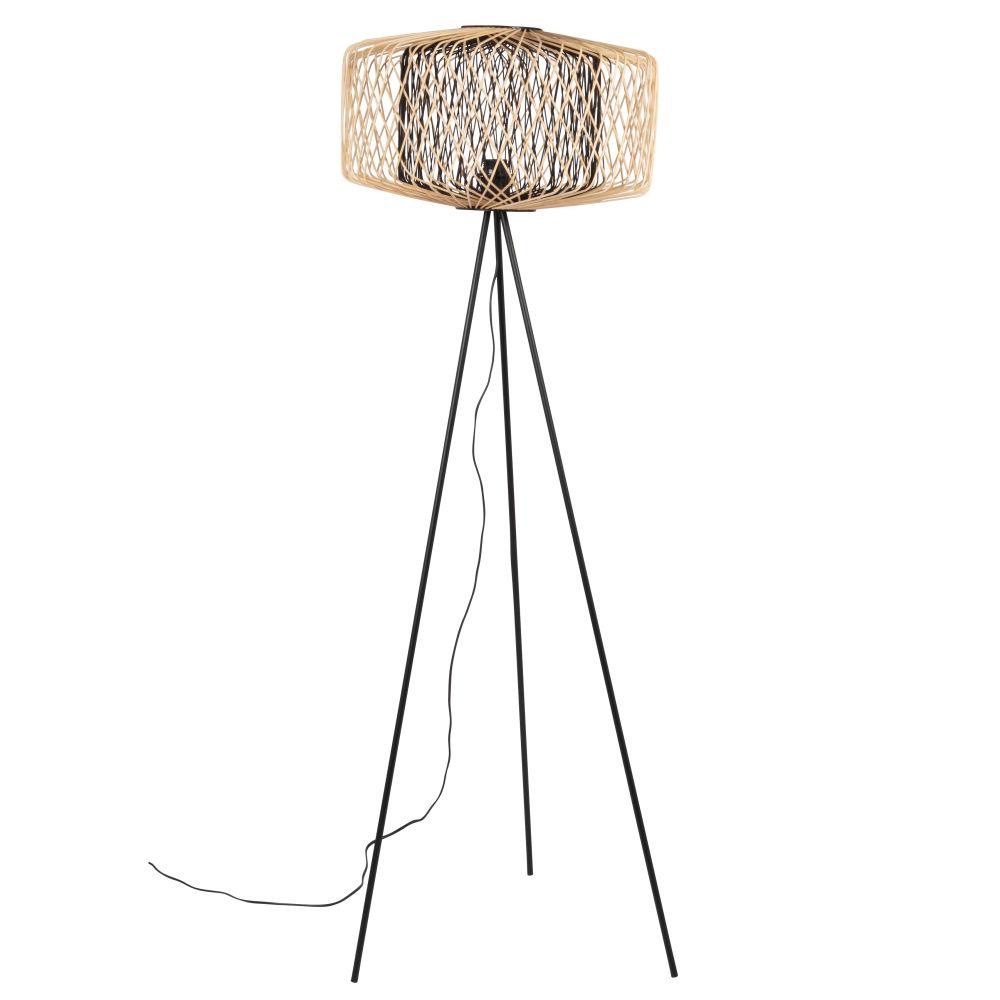Lampadaire en métal et bambou noir et beige H151