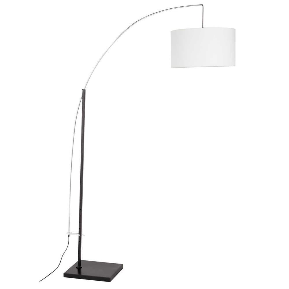 Lampadaire en métal et coton blanc H 202 cm