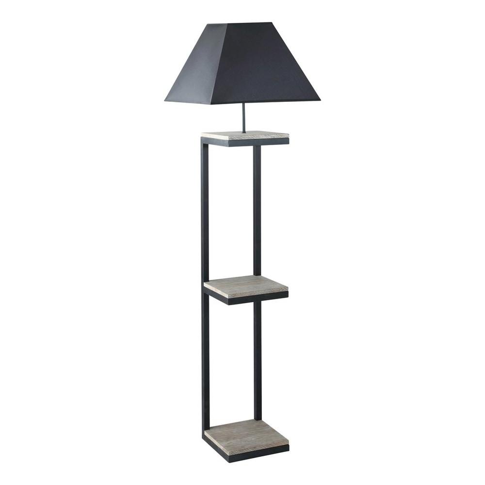 Lampadaire en métal et sapin avec abat-jour en coton noir H158