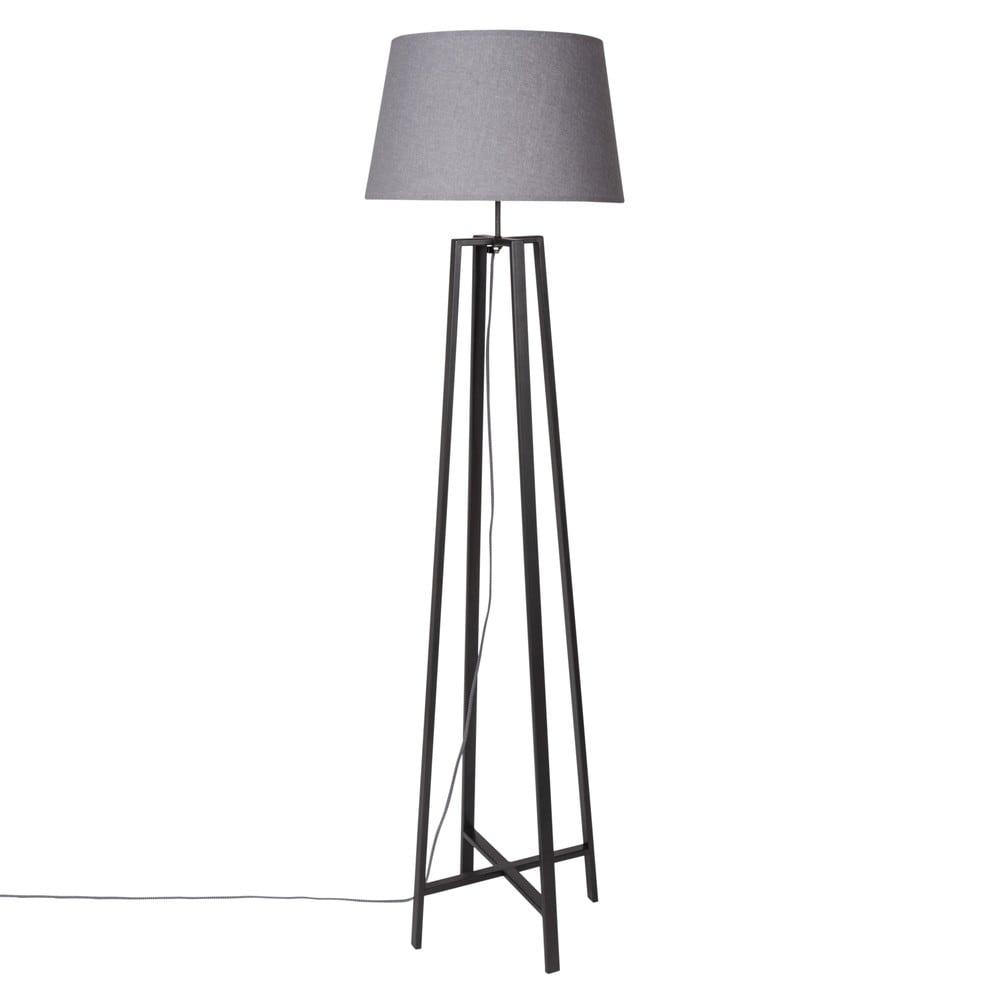Lampadaire en métal noir et abat-jour gris H160