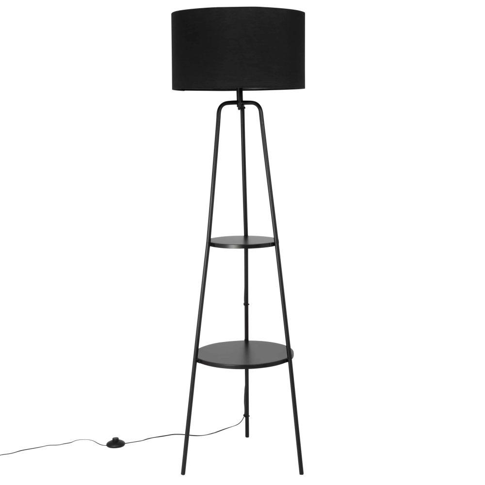 Lampadaire étagère en métal et abat-jour en coton noirs H157