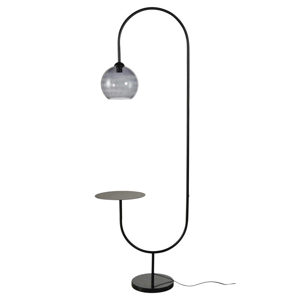 Lampadaire étagère en verre fumé et métal noir H190