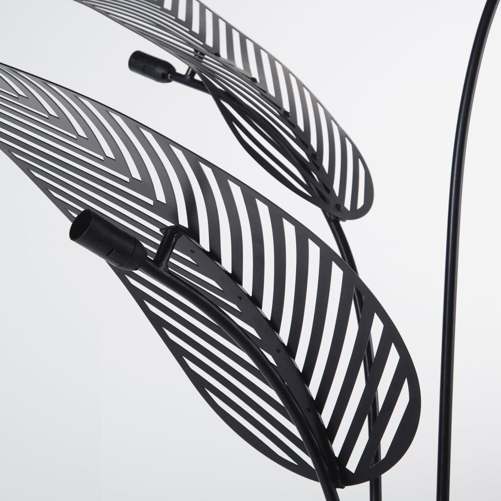 Lampadaire feuilles de palmier en métal noir mat H163